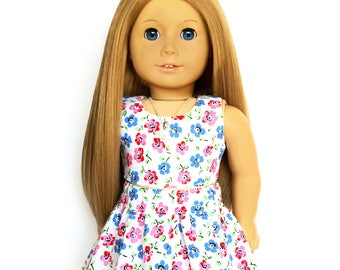 Crop Tank Top, Floral, White, Pink, Red, Blue, 18 inch Doll Clothes, Fits dolls such as American Girl, Mix and Match