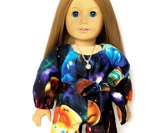 Shorts, Romper, Sash, Outer Space, Galaxy, Luciana, Black, Royal Blue, Yellow, 18 inch Doll Clothes, Fits dolls such as American Girl, GOTY