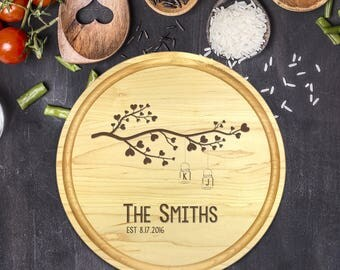 Personalized Cutting Board Round, Cutting Board Personalized, Wedding Gift, Housewarming Gift, Anniversary Gift, Mason Jars, Tree, B-0057