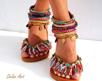 "Leather Sandals, ""Appaloosa"",  colorful  summer sandals, boho shoes ,Greek Sandals, Handmade Sandals,  hippie sandals, Delos Art"