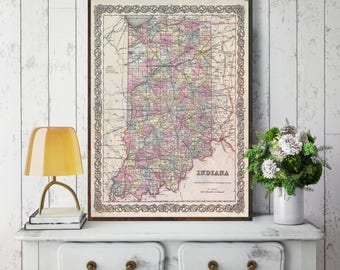 Indiana State Map, Indiana Map Canvas, Antiqued Indiana Map, Canvas Wall Decor, Indiana Wall Decor, Map of Indiana Canvas