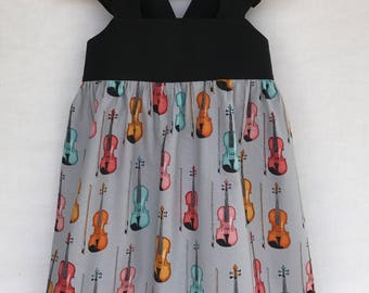 Violin Dress, Violin Recital, Baby Girls Dress, Little Girls Dress, Flutter Sleeve Dress