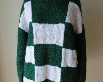 1980s green and white checked sweater/ 1980s roughrider sweater/ vintage sweater