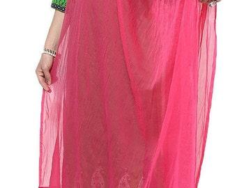 Pink Free Shipping Chiffon Dupatta Long Stole Veil Stole Women Hijab Crochet Lace Sarong S20