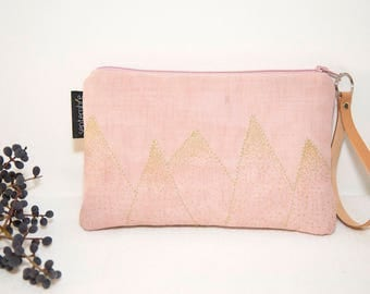 Fabric bag pink and gold / padded pouch leather handle / powder pink evening bag / pouch wedding / powder pink pouch