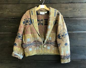 Vintage 90s Flashback Tribal Print Crop Blazer