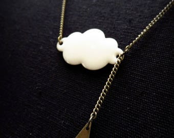 Brass white enamel and rain cloud necklace