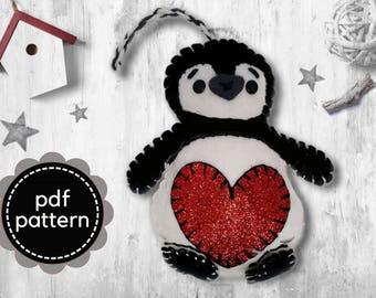 Penguin Pattern-Felt Pattern-Felt Christmas Ornament Pattern-Felt PDF Pattern-Decor-Felt Patterns-Felt Ornament Pattern-Penguin Felt Pattern