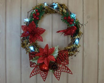 Pre-Lit Red Christmas Wreath / 12 Inch / 10 LED Lights / Batteries Included