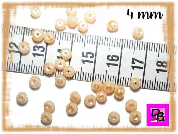 25 perles nacrées mouchetées [Champagne] 4 mm