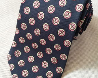 Vintage T M Lewin mens Silk Tie in blue with lilac and white geometric circles