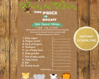 Baby Shower Safari The Price is Right Game-Digital Instant Download-Baby Shower Price is Right Printable Game-Jungle Games-Baby Shower Games