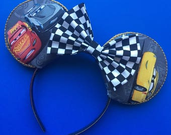 Disney Cars Inspired Mouse Ears, Lightening McQueen and Jackson Storm Mouse Ears, Cars 3 Inspired Ears, Cruz Ramirez Ears