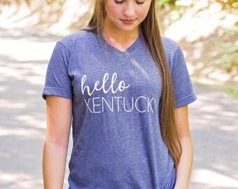 Kentucky State Shirt , Bluegrass State , Kentucky Shirt , V Neck , Hello Kentucky, Bella Canvas ,Heather Navy , Ky , Lexington , Louisville
