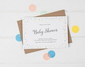 Baby Shower Invitation, Baby Shower Invitation Gender Neutral, Confetti Baby Shower Invitation, Colourful Baby Shower Invites