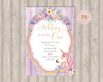 Unicorn Birthday Invitation, Unicorn First Birthday Invitation, Unicorn Baby Shower Invitation, Unicorn Invitation