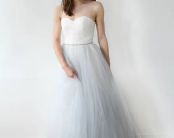 Strapless Silver Gray With Beading Wedding Dress