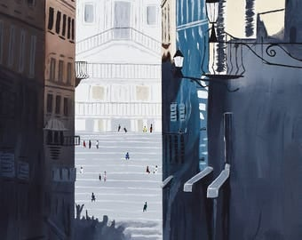 The Spanish Steps of Rome, Italy - Acrylic Painting