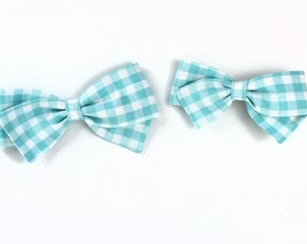 Gingham Bow - Blue Gingham Hair Bow For Girls and Toddlers - Headbands and Clips