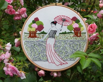 "Embroidery KIT - Embroidery pattern - embroidery hoop art - ""Le Balcon"" - Traditional embroidery kit - Inspiration design - Art nouveau"