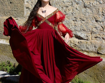 Fantasy Dress, Cosplay Dress, Fairy Dress, Renaissance Dress, Renaissance Costume, Medieval Dress, Fairy Wedding Dress, Long Red Dress