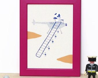 Aviator / Mini Print / Illustration of a pilot in a silver plane / limited edition screenprint