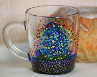 Coffee Mug, Tea Mug, Glass Mug, Unique Mug, Bright Colours, Gift Idea