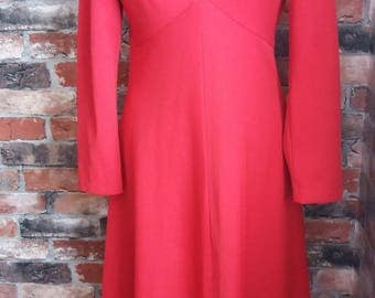Vintage 1960s Red full length dress Size 12
