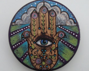 wood art, Hamsa hand painting, evil eye decor, small colorful art, paintings on wood, unique gift