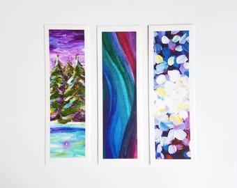 Art Bookmarks - Art Print Bookmarks - Colorful Bookmarks - Set of 3 Bookmarks - Art Prints Bookmarks Set - Art Print Stocking Stuffer