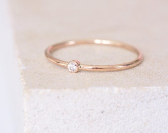 9ct Rose Gold Dainty Diamond Tiny Dot Stacking Solitaire Engagement Bezel Ring