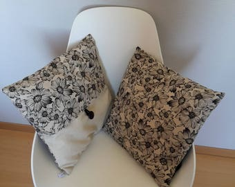 Pillow cover with flower pattern black background color linen for a chic and simple note