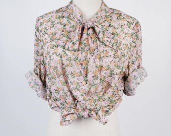 Flower Print Bow Collar Long Sleeves Pink Vintage Women Blouse Size M
