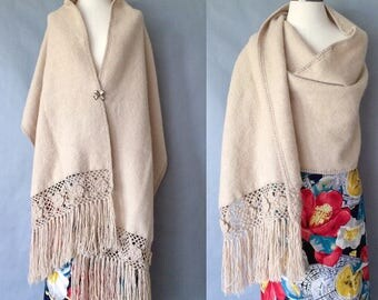 Vintage wool crochet scarf/ shawl one size fits all