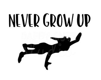 Never Grow Up  Neverland Peter Pan Matching Family Father Son Mother Daughter Boy Disney World Vacation Iron On Decal Vinyl for Shirt 156