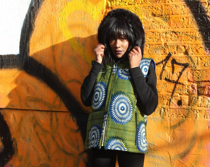 Featured listing image: African Print Jacket - African Body Warmer-African Vest - African Clothing - African Gilet - Padded Jacket - Festival Clothing