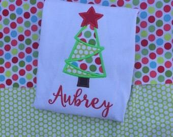 Girls Christmas shirt, Christmas tree shirt, Christmas bodysuit,  baby Christmas shirt, Monogrammed christmas shirt , embroidery christmas