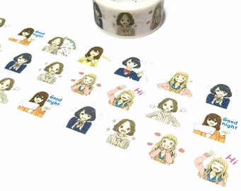 girl diary washi tape 5M x 2cm teen girl cute girl hi good night reminder masking sticker tape Japan comic cg girl diary planner gift decor
