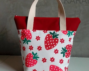 10% OFF [ Orig. 19.99 ] Strawberry Lunch bag, Waterproof tote, Canvas Lunch bag, Reusable Lunch bag, Handmade bag, Tote, Gift