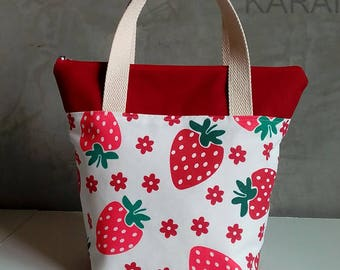 20% OFF [ Orig. 19.99 ] Strawberry Lunch bag, Waterproof tote, Canvas Lunch bag, Reusable Lunch bag, Handmade bag, Tote, Gift