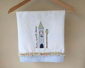 Home Sweet Home Embroidered Tea Towel, Freehand Machine Embroidery, White Cotton Towel