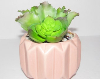 Succulent Planter in Pink Blush Ceramic, Faux Succulent Planter, Desk Accessory, Artificial Succulent Arrangement, Succulent Gift