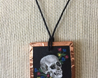 Painted skull necklace, Skull jewelry for women, Human skull pendant, Skull pendant necklace, Gothic skull jewelry, Skull and flowers