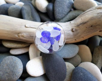 Full ring of genuine sea glass from Atlantic ocean, sea foam and white, cobalt blue. French sea glass!