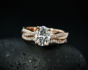 Forever One Moissanite Engagement Ring - Oval Moissanite - Twisted Diamond Wedding Band