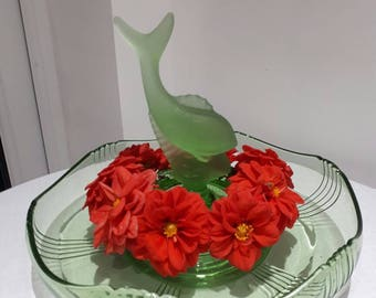 Green Uranium Glass Float Bowl  Centrepiece with fish insert to frog