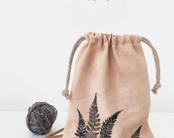 Sock knitting bag, Small knitting project bag, Project bag for socks, Canvas drawstring bag, Project pouch, Sock yarn bag, Knitting tote