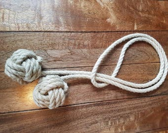 Hemp Rope Tie-backs/ Rustic Hemp Rope ties/ Monkey Fist Knot Curtain Tiebacks / shabby chic windows/ Rope Tiebacks/ nautical ties/ nursery