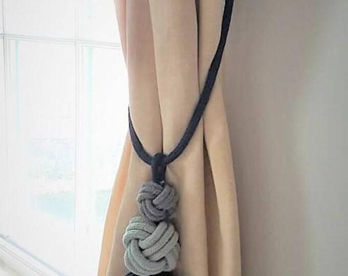 Navy cotton cord Tripple knot tassel curtain tie-backs grey blue bohemian decor hold-backs multi color boho nautical home decor