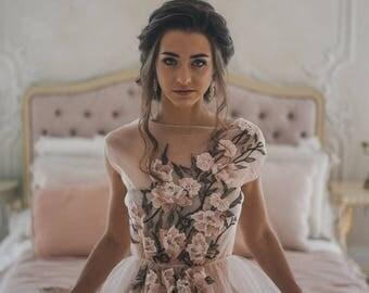 Tulle boudoir dress Teya//Lace boudoir//flower lace//bridal robe//pregness dress